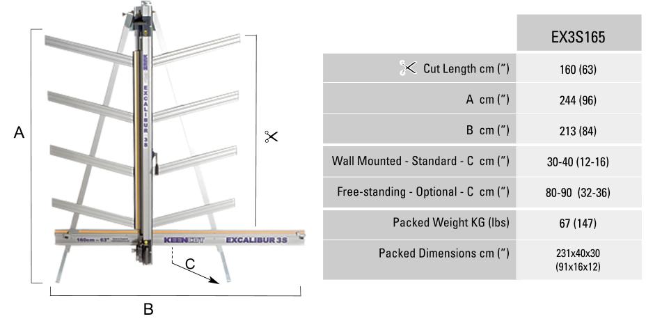 Excalibur-3S-Dimensions-Chart